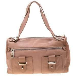 Marc Jacobs Peach Leather Double Buckle Pocket Boston Bag