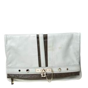 Marc by Marc Jacobs Light Grey/Brown Leather Magazine Fold Over Clutch