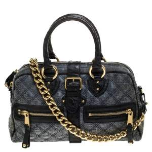 Marc Jacobs Black/Blue Quilted Leather Venetia Satchel