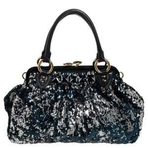 حقيبة كتف مارك جاكوبس نيويورك روكر ستيم ترتر زرقاء/ سوداء