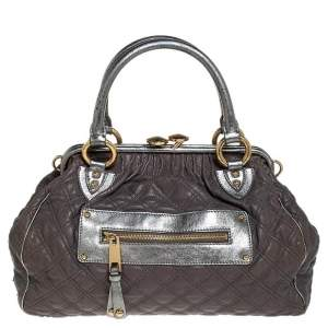 Marc Jacobs Grey/Silver Quilted Leather Stam Shoulder Bag
