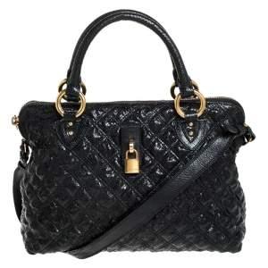 حقيبة يد مارك جاكوبس جلد ثعبان بارز مبطن أسود