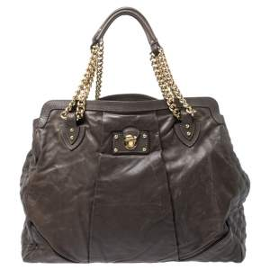 Marc Jacobs Khaki Mix Quilted Leather Classic East-West Tote