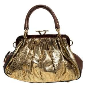 """حقيبة مارك جاكوبس """"ستام"""" جلد ثعبان ذهبي"""