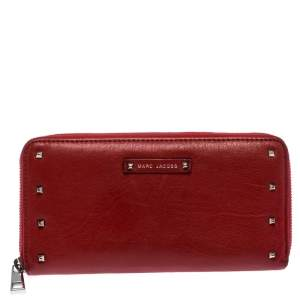 Marc Jacobs Red Studded Leather Zip Around Continental Wallet