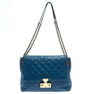 حقيبة كتف مارك جاكوبس باروك جلد أزرق مبطن كبيرة بحمالة للكتف