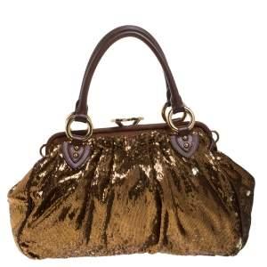 حقيبة كتف مارك جاكوبس New York Rocker Stam ترتر ذهبية