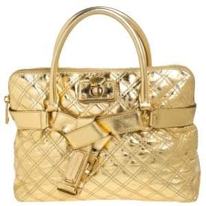 حقيبة يد مارك جاكوبس برونا جلد مبطنة ذهبية