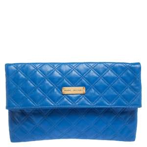 Marc Jacobs Blue Quilted Leather Foldover Clutch