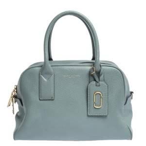 Marc Jacobs Pale Blue Leather Logo Shot Charm Boston Bag