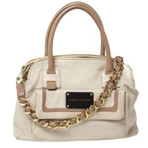 Marc Jacobs Ivory Leather Front Pocket Chain Shoulder Bag