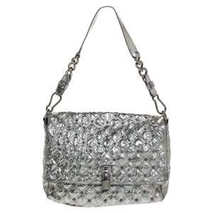 Marc Jacobs Metallic Silver Snakeskin Effect Leather Stardust Beat Shoulder Bag