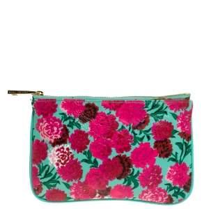 Marc Jacobs Multicolor Floral Print Leather Zipper Clutch