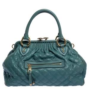 Marc Jacobs Pale Green Quilted Leather Stam Shoulder Bag