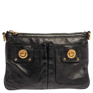 Marc Jacobs Black Leather Turnlock Crossbody Bag