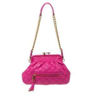 Marc Jacobs Fuchsia Quilted Leather Little Stam Shoulder Bag