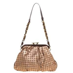 Marc Jacobs Taupe/Rose Gold Printed Leather Little Stam Crystal Embellished Shoulder Bag