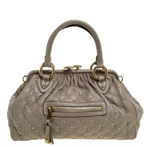Marc Jacobs Pale Light Green Leather Stam Studded Satchel