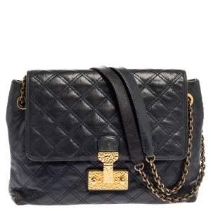 Marc Jacobs Navy Blue Quilted Leather Pushlock Flap Shoulder Bag