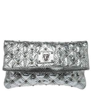 Marc Jacobs Silver Snake Effec Leather Foldover Clutch