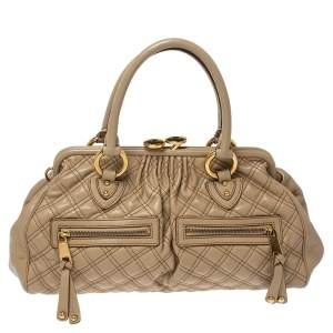 Marc Jacobs Beige Quilted Leather East West Stam Satchel