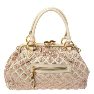 Marc Jacobs Ivory Crystal Embellished Suede and Leather Stam Satchel