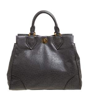 Marc by Marc Jacobs Grey Ostrich Embossed Leather Ozzie Square Lucy Tote