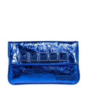 Marc Jacobs Metallic Blue Crinkled Patent Leather Fergie Clutch