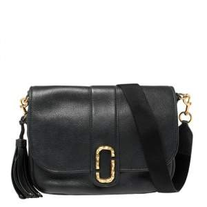 Marc Jacobs Black Leather Courier Messenger Bag