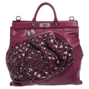 Marc Jacobs Purple Leather Robert Duffy Bag on Bag Tote