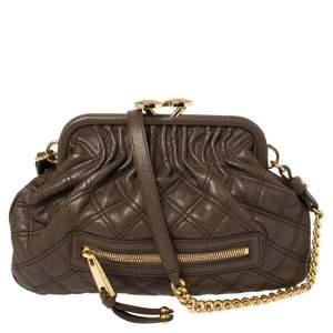 Marc Jacobs Dark Beige Quilted Leather Little Stam Shoulder Bag