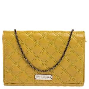 Marc Jacobs Lime Quilted Leather Flap Chain Clutch