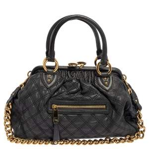 Marc Jacobs Grey Quilted Leather Stam Satchel