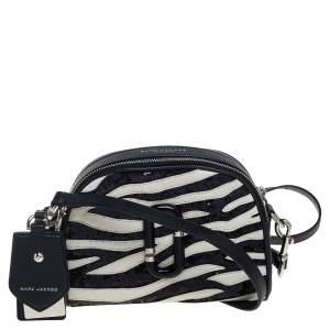 Marc Jacobs Black/White Leather and Sequin Zebra Shutter Crossbody Bag