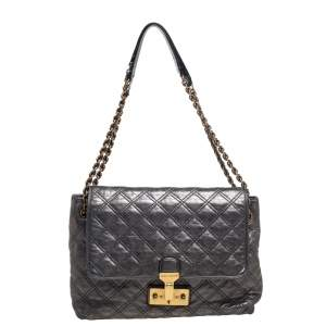 Marc Jacobs Metallic Silver Quilted Leather Large Baroque Single Shoulder Bag
