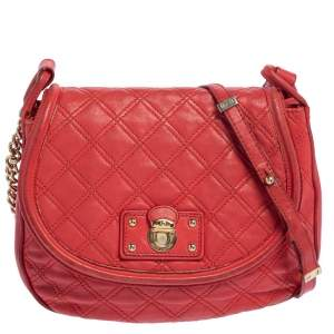 Marc Jacobs Red Quilted Leather Flap Crossbody Bag