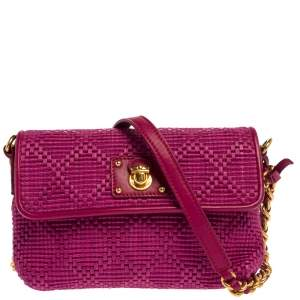 Marc Jacobs Fuchsia Straw and Leather Shoulder Bag