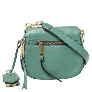 Marc Jacobs Green Leather Recruit Nomad Saddle Bag