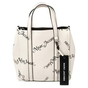 حقيبة مارك جاكوبس نيو يورك مغازين جلد أسود/أبيض