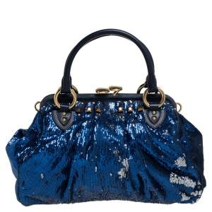Marc Jacobs Blue Sequins and Suede Stam Satchel