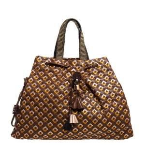 Marc Jacobs Brown/Rose Gold Leather Memphis Drawstring Tote