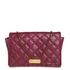Marc Jacobs Burgundy Quilted Leather Flap Chain Clutch