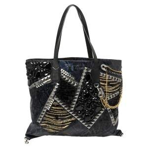 Marc Jacobs Blue/Black Python Embossed Leather Embellished Wingman Tote