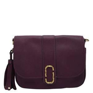 Marc Jacobs Purple Interlock Courier Leather Cross Body Bag