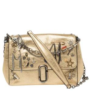 Marc Jacobs Gold Leather Charms And Trinket Crossbody Bag