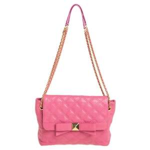 Marc Jacobs Pink Quilted Leather Bow Shoulder Bag