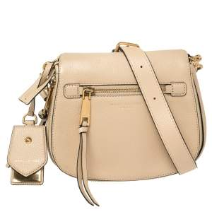 Marc Jacobs Beige Leather Small Recruit Saddle Bag
