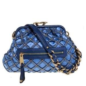 Marc Jacobs Blue Satin Crystal Embellished Stam Shoulder Bag