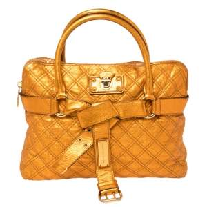 Marc Jacobs Metallic Orange Quilted Leather Bruna Belted Tote