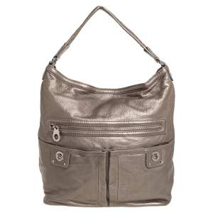Marc Jacobs Metallic Soft Leather Double Pocket Shoulder Bag